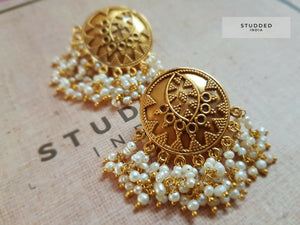Silver gold plated majili pearl studs