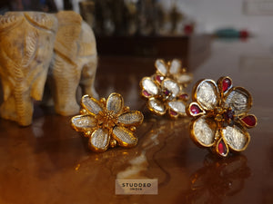 Silver gold plated textured pink floral studs
