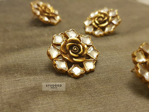 Silver gold plated summer floral studs