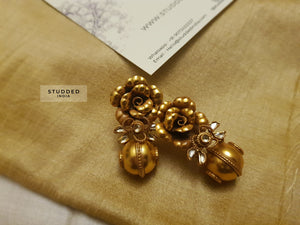 Silver gold plated summer floral leaf earring