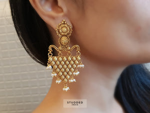 Silver gold plated triangle weave drops