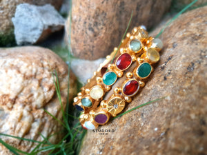 Silver gold plated heritage multi gem bangle