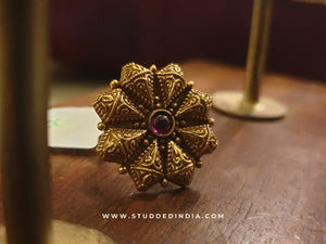 Silver gold plated floral heritage ring