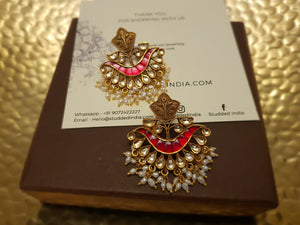Silver gold plated ruby festive earring