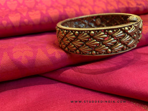 Silver gold plated traditional pattern bangle