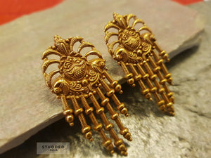 Silver gold plated sitara earring