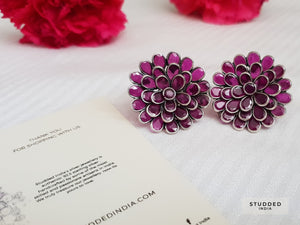 Rose floral studs and ring