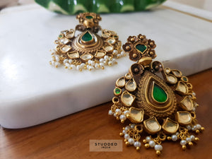 Silver gold plated classic kundan pear drops