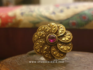 Silver gold plated petal heritage ring