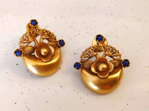 Silver gold plated peacock garden studs