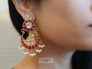 Classic rose chaand earrings