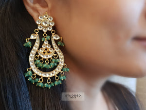 Classic kundan vana chaand earrings