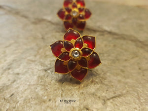 Floral ruby roo studs