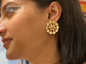 Silver gold plated floral orbit studs