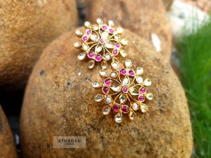 Silver gold plated pink floris studs