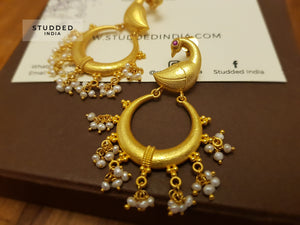 Silver gold plated pearl bird earring