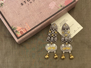 Silver dual tone prash earrings