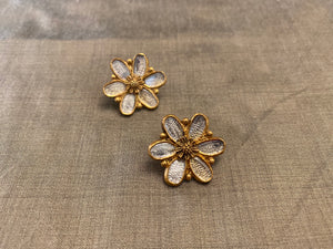 Silver gold plated textured floral studs