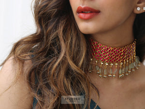 Ruby cluster band choker