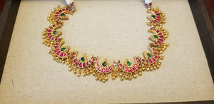 Pink crescent heritage chain set