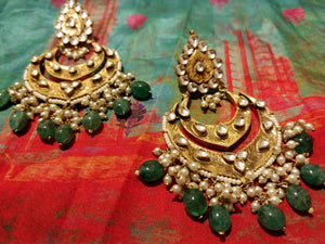 Antique layered chaand earrings