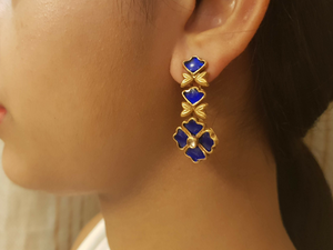 Silver gold plated royal blue mini floral vine