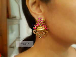 Silver gold plated lotus dance studs