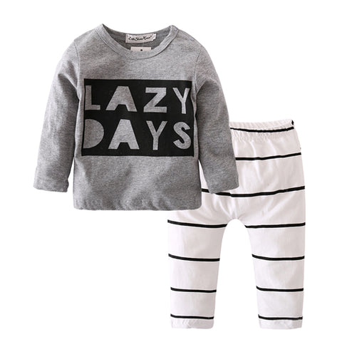 Baby clothing set fashion - cotton long-sleeved Letter T-shirt & pants
