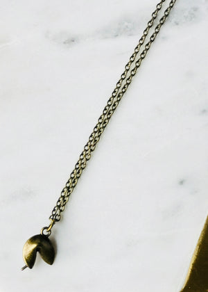The Oscar Lu - Antique Brass Fortune Cookie Charm Necklace