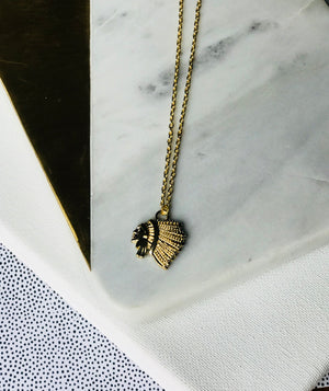 The Chieftain - Tribal Inspired Gold Charm Necklace