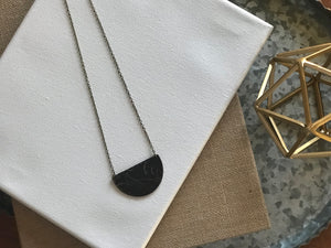 The Moon Phase - Half Moon Floral Embossed Leather Charm Necklace