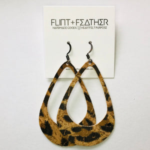 Leopard Cork Leather Cutout Earrings