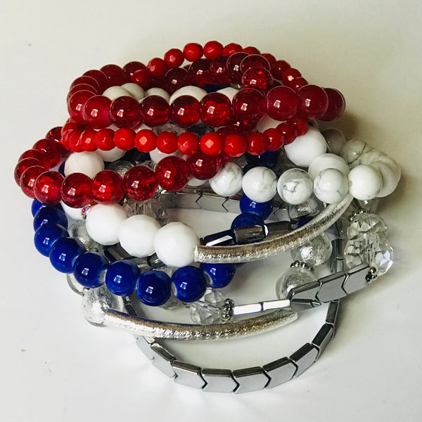 'Merica Stack - Red, White, & Blue Stacking Bracelet (Set of 7)