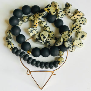 The Motivation - Black & Bone Colored Oil Diffusing Stackable Bracelets