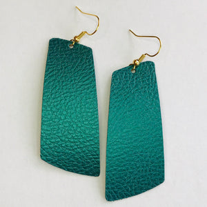 Peacock Green Faux Leather Spar Earrings