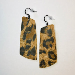 Leopard Cork Leather Spar Earrings
