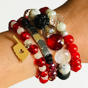 The Schooner Midi - OU Inspired Mixed Bead & Stone Stretch Bracelet Stack (Set of 4)