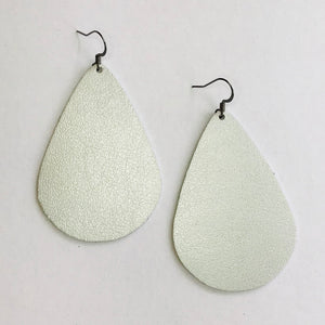 Leather Collection - Metallic Silver Teardrop Earrings