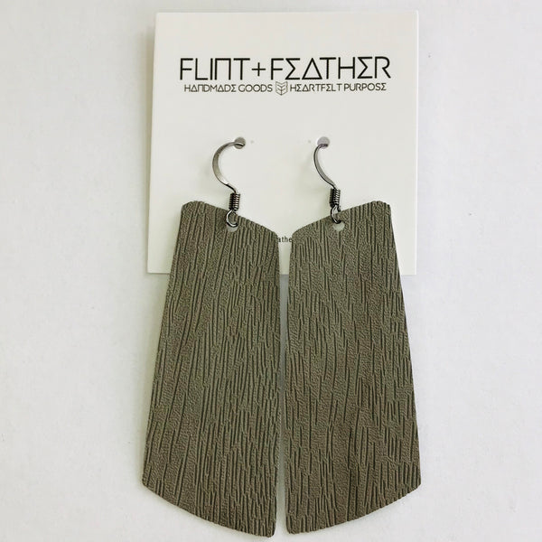 Gray Faux Woodgrain Leather Spar Earrings
