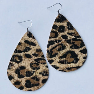 Leopard Cork Leather Teardrop Earrings (Nickel Free)