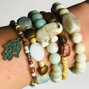 Reaching Nirvana - Stack Bracelets in Natural Stone Tones (Set of 5)