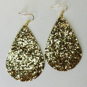 Gold Glitter Canvas Teardrop Earrings