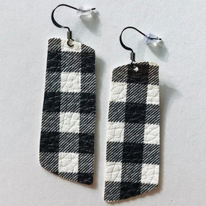 White Buffalo Check Faux Leather Spar Earrings