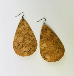 Natural Cork Leather Teardrop Earrings (Nickel Free)