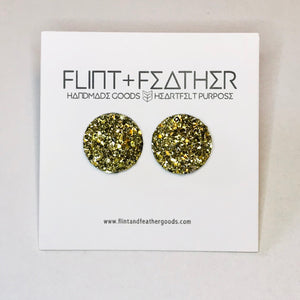 Druzy Collection - Metallic Dome Druzy Stud Earrings