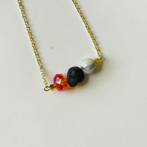 The Tailgater  - Orange/Black/Marble Bead Bar Necklace (Nickel Free)