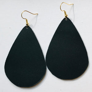 Leather Collection - Onyx Teardrop Earrings
