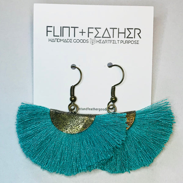 The Fiesta - Teal Fan Fringe Dangle Earrings (Nickel Free)