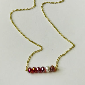 Talk of the Tailgate - Crimson/White Bead Bar Necklace (Nickel Free)