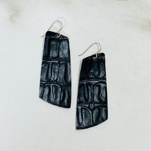 Faux Leather Collection - Croc Teardrop Earrings